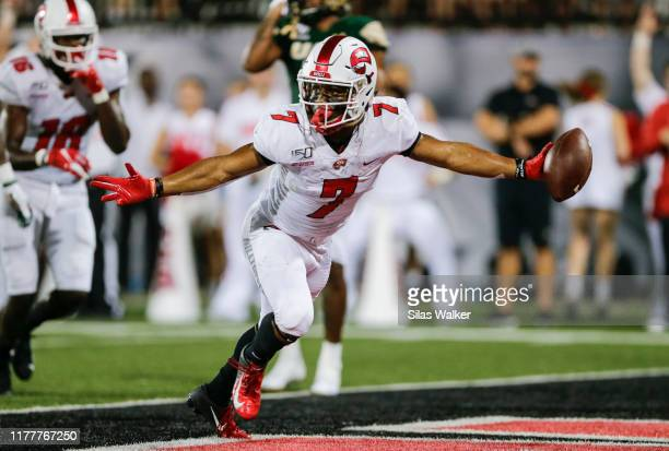 Jahcour Pearson of the Western Kentucky University Hilltoppers celebrates scoring a touchdown during the game with the University of Alabama...