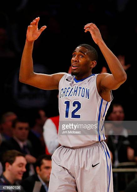 Jahenns Manigat of the Creighton Bluejays reacts in the second half against the Providence Friars during the Championship game of the 2014 Men's Big...