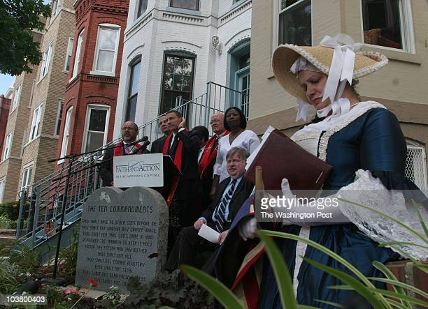 ME_MONUMENT jahi chikwendiu Merrie Warren Turner right dressed as Betsy Ross listens as other members of Faith and Action take questions from the...