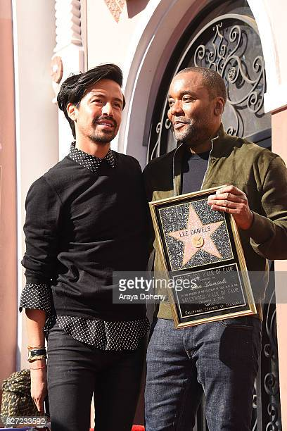 Jahil Fisher and Lee Daniels attend the ceremony honoring Lee Daniels with a Star on the Hollywood Walk of Fame on December 2 2016 in Hollywood...