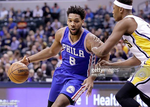 Jahil Okafor of the Philadelphia 76ers dribbles the ball during the game against the Indiana Pacers at Bankers Life Fieldhouse on November 9 2016 in...