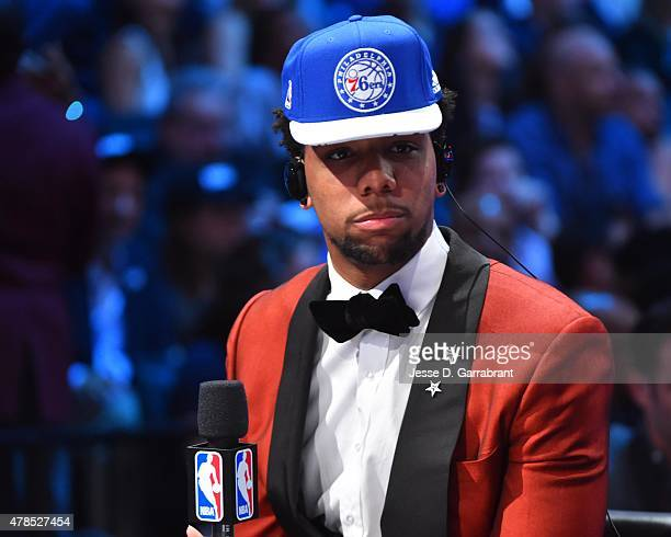 Jahil Okafor the 3rd pick overall in the 2015 NBA Draft by the Philadelphia 76ers speaks to the media during the 2015 NBA Draft at the Barclays...