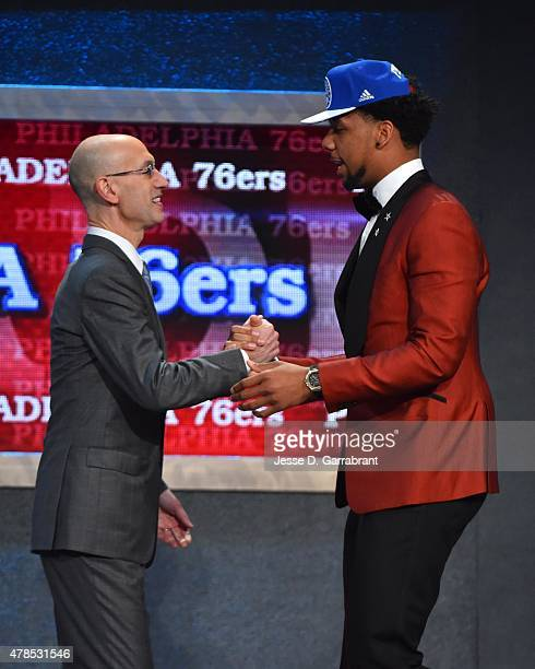 Jahil Okafor the 3rd pick overall in the 2015 NBA Draft by the Philadelphia 76ers poses for a portrait with Adam Silver during the 2015 NBA Draft at...