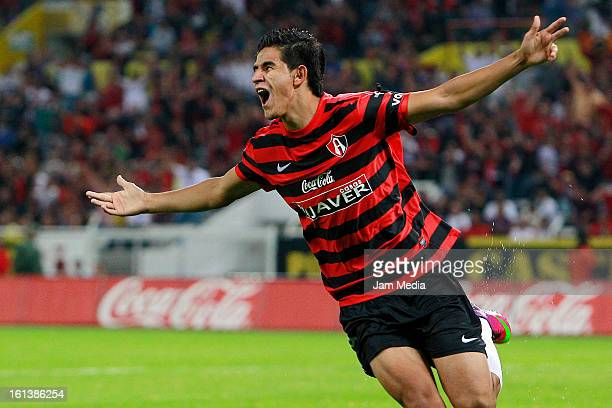 Jahir Barraza of Atlas celebrates a scored goal during the match as part of the Clausura 2013 Liga MX at Estadio Jalisco on February 09 2013 in...