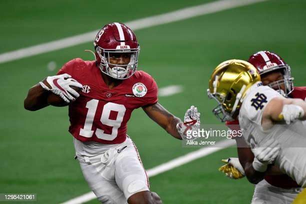 Jahleel Billingsley of the Alabama Crimson Tide runs with the ball during the College Football Playoff Semifinal at the Rose Bowl football game...