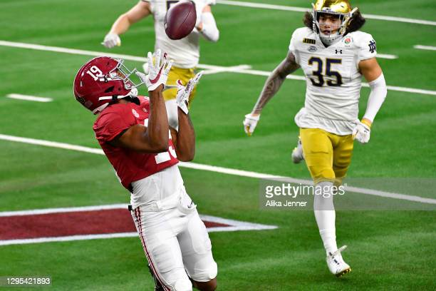 Jahleel Billingsley of the Alabama Crimson Tide scores a touchdown during the College Football Playoff Semifinal at the Rose Bowl football game...