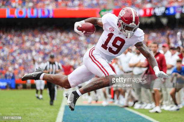 Jahleel Billingsley of the Alabama Crimson Tide scores a touchdown during the first quarter of a game against the Florida Gators at Ben Hill Griffin...