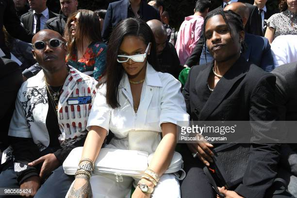 Jahleel Weaver Rihanna and A$AP Rocky attend the Louis Vuitton Menswear Spring/Summer 2019 show as part of Paris Fashion Week on June 21 2018 in...