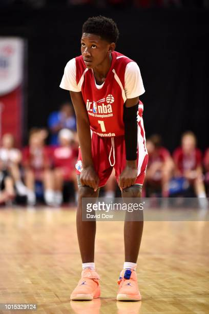 Jahliel Smart of Canada Boys looks on during the game against Africa Middle East Boys during the Jr NBA World Championship International Finals on...
