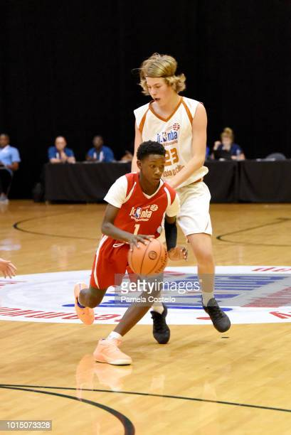 Jahliel Smart of the Canada Boys handles the ball against the Asia Pacific Boys during the Jr NBA World Championship International Semifinals on...