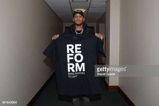 Jahlil Beats attends Reform Bringing Injustice To Light at Irvine Auditorium on March 13 2018 in Philadelphia Pennsylvania