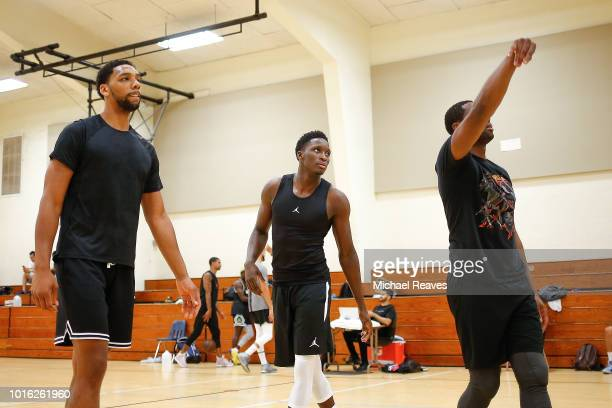 Jahlil Okafer or the New Orleans Pelicans Victor Oladipo of the Indiana Pacers and Dwyane Wade of the Miami Heat during NBA Offseason training with...