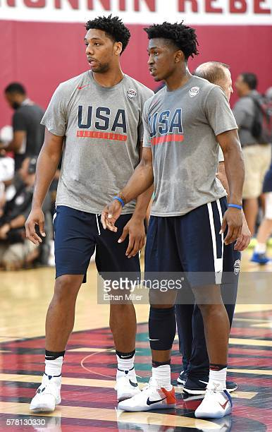 Jahlil Okafor and Stanley Johnson of the 2016 USA Basketball Select Team stand on the court during a practice session at the Mendenhall Center on...