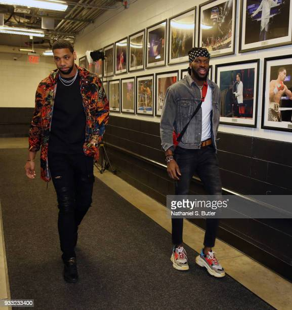 Jahlil Okafor of the Brooklyn Nets and DeMarre Carroll of the Brooklyn Nets arrives before the game against the Dallas Mavericks on March 17 2018 at...