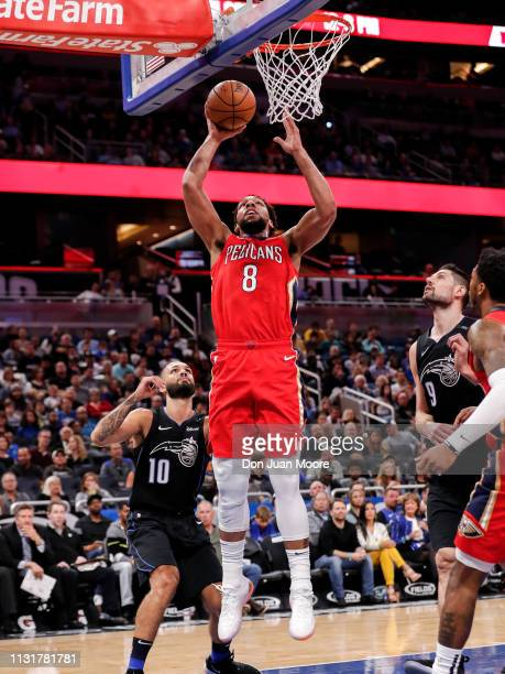 Jahlil Okafor of the New Orlean Pelicans shoots over Evan Fournier of the Orlando Magic during the game at the Amway Center on March 20 2019 in...