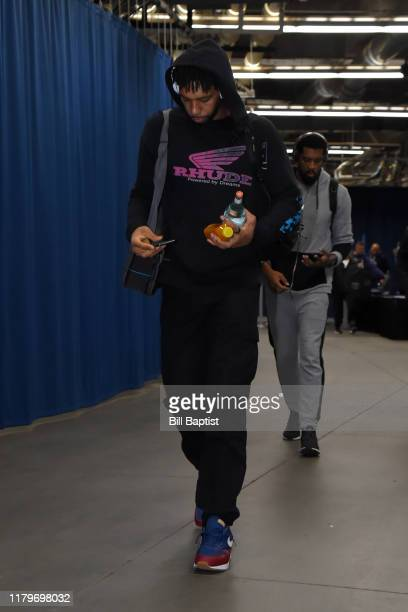 Jahlil Okafor of the New Orleans Pelicans arrives before a game against the Oklahoma City Thunder on November 2 2019 at Chesapeake Energy Arena in...