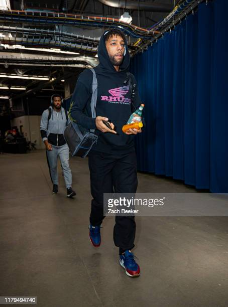 Jahlil Okafor of the New Orleans Pelicans arrives for the game against the Oklahoma City Thunder on November 2 2019 at Chesapeake Energy Arena in...