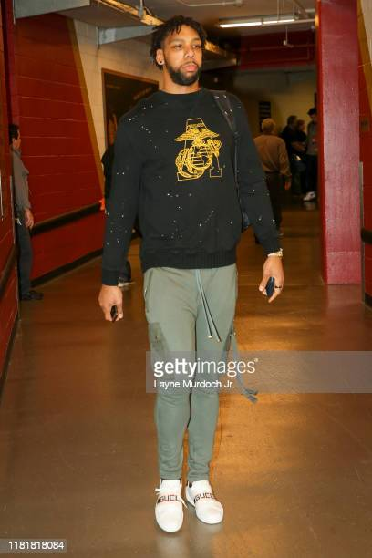 Jahlil Okafor of the New Orleans Pelicans arrives prior to a game against the Houston Rockets on November 11 2019 at the Smoothie King Center in New...