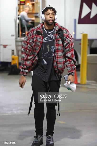 Jahlil Okafor of the New Orleans Pelicans arrives to the arena before the game against the Brooklyn Nets on November 4 2019 at Barclays Center in...