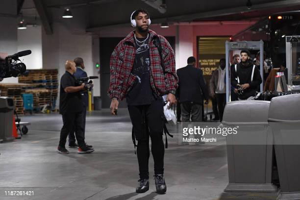 Jahlil Okafor of the New Orleans Pelicans arrives to the arena prior to the game against the Brooklyn Nets at Barclays Center on November 04 2019 in...