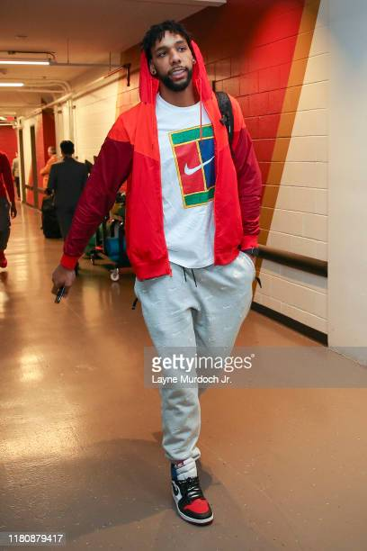 Jahlil Okafor of the New Orleans Pelicans arrives to the game against the Toronto Raptors on November 8 2019 at the Smoothie King Center in New...