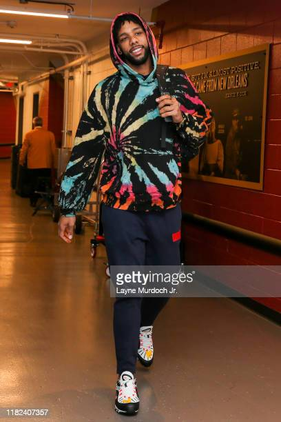 Jahlil Okafor of the New Orleans Pelicans arrives to the game against the LA Clippers on November 14 2019 at the Smoothie King Center in New Orleans...
