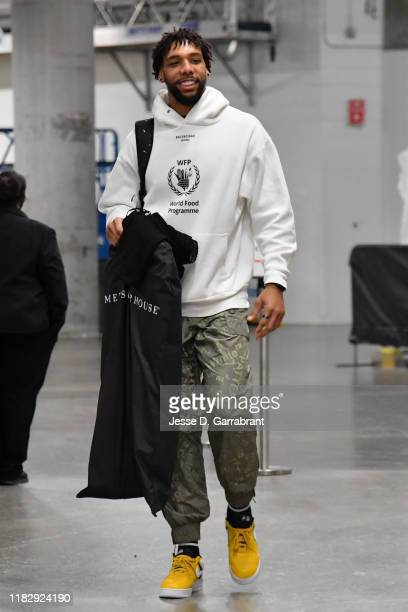 Jahlil Okafor of the New Orleans Pelicans arrives to the game against the Miami Heat on November 16 2019 at the American Airlines Arena in Miami...