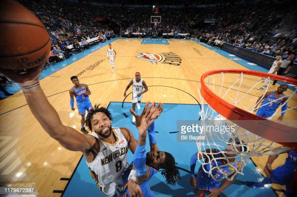 Jahlil Okafor of the New Orleans Pelicans drives to the basket Oklahoma City Thunder on November 2 2019 at Chesapeake Energy Arena in Oklahoma City...