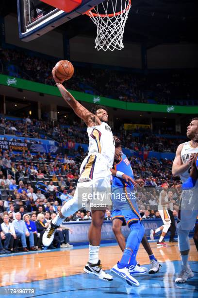 Jahlil Okafor of the New Orleans Pelicans drives to the basket against the Oklahoma City Thunder on November 2 2019 at Chesapeake Energy Arena in...