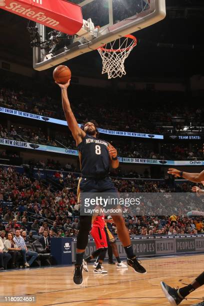 Jahlil Okafor of the New Orleans Pelicans drives to the basket against the Toronto Raptors on November 8 2019 at the Smoothie King Center in New...