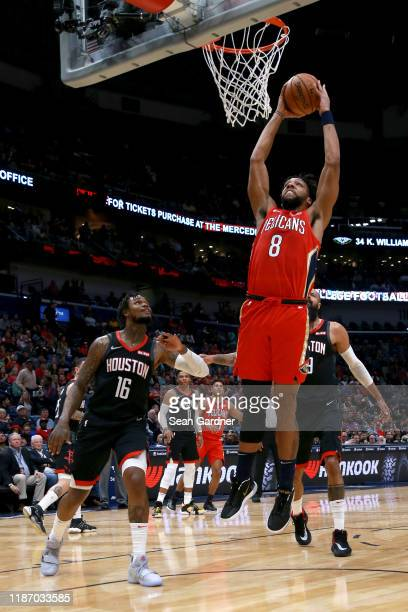 Jahlil Okafor of the New Orleans Pelicans dunks during a NBA game against the Houston Rockets at the Smoothie King Center on November 11 2019 in New...
