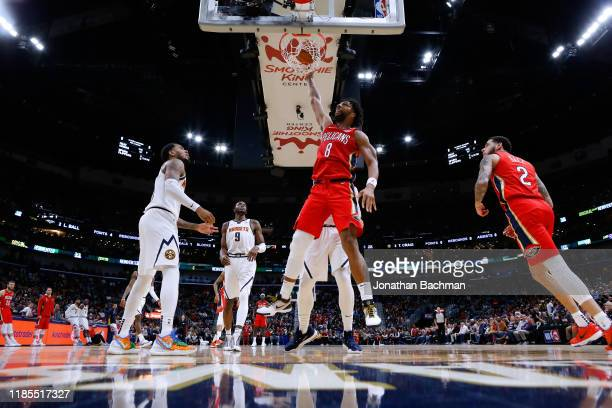 Jahlil Okafor of the New Orleans Pelicans dunks the ball during a game against the Denver Nuggets at the Smoothie King Center on October 31 2019 in...