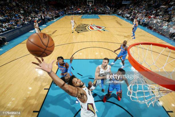 Jahlil Okafor of the New Orleans Pelicans goes up for a rebound during the game against the Oklahoma City Thunder on November 2 2019 at Chesapeake...