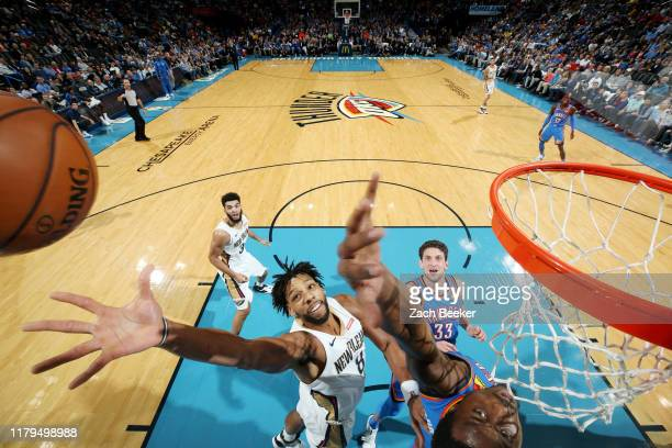 Jahlil Okafor of the New Orleans Pelicans goes up for a rebound against the Oklahoma City Thunder on November 2 2019 at Chesapeake Energy Arena in...