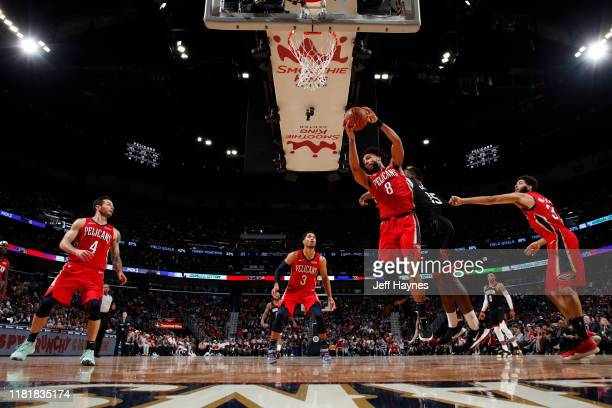 Jahlil Okafor of the New Orleans Pelicans grabs the rebound against the Houston Rockets on November 11 2019 at the Smoothie King Center in New...
