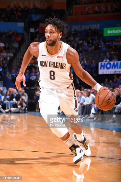 Jahlil Okafor of the New Orleans Pelicans handles the ball against the Oklahoma City Thunder on November 2 2019 at Chesapeake Energy Arena in...