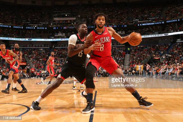 Jahlil Okafor of the New Orleans Pelicans handles the ball against the Houston Rockets on November 11 2019 at the Smoothie King Center in New Orleans...
