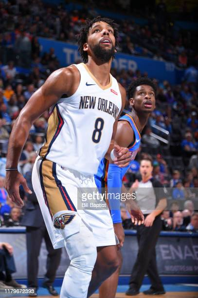 Jahlil Okafor of the New Orleans Pelicans looks on during a game against the Oklahoma City Thunder on November 2 2019 at Chesapeake Energy Arena in...