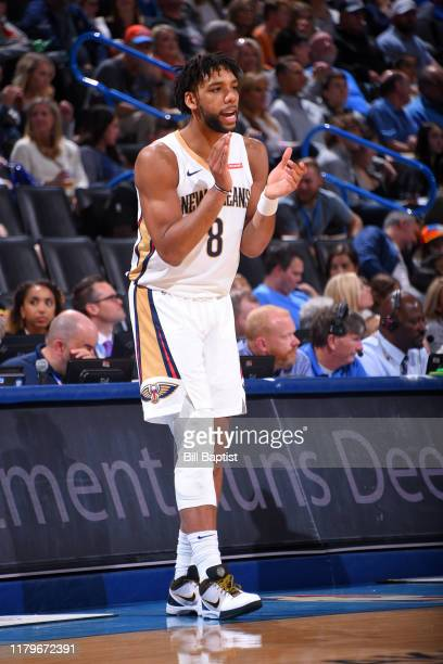Jahlil Okafor of the New Orleans Pelicans reacts to a play against the Oklahoma City Thunder on November 2 2019 at Chesapeake Energy Arena in...