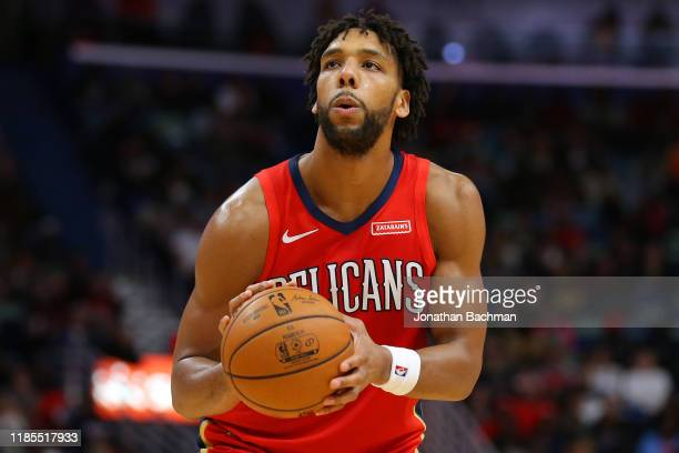 Jahlil Okafor of the New Orleans Pelicans shoots during a game against the Denver Nuggets at the Smoothie King Center on October 31 2019 in New...