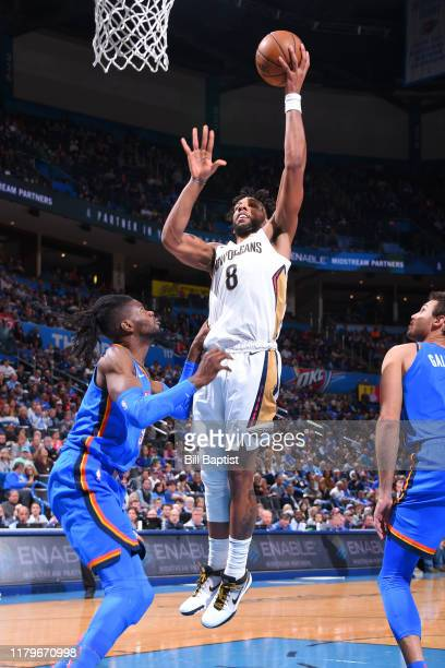 Jahlil Okafor of the New Orleans Pelicans shoots the ball against the Oklahoma City Thunder on November 2 2019 at Chesapeake Energy Arena in Oklahoma...