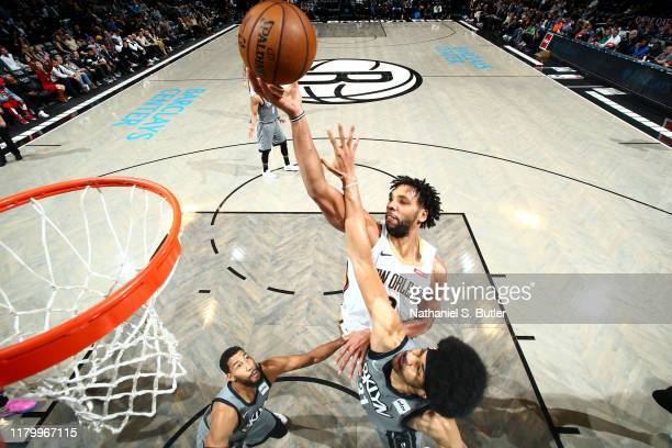 Jahlil Okafor of the New Orleans Pelicans shoots the ball against the Brooklyn Nets on November 4 2019 at Barclays Center in Brooklyn New York NOTE...