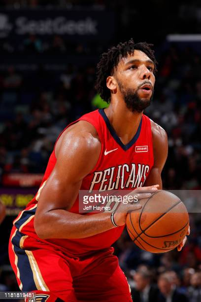 Jahlil Okafor of the New Orleans Pelicans shoots the ball against the Houston Rockets on November 11 2019 at the Smoothie King Center in New Orleans...