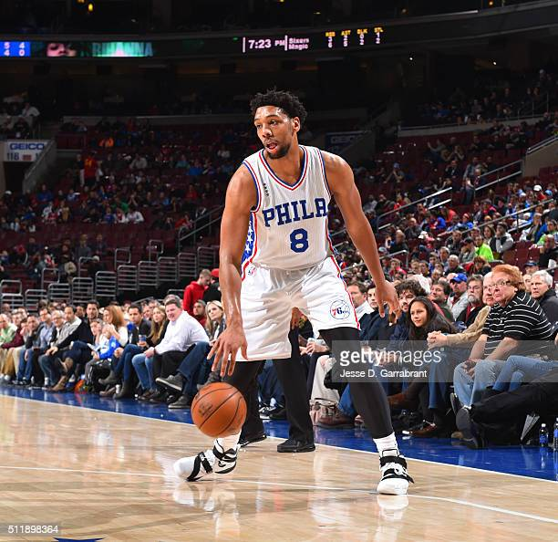 Jahlil Okafor of the Philadelphia 76ers dribbles the ball against the Orlando Magic at Wells Fargo Center on February 23 2016 in Philadelphia...