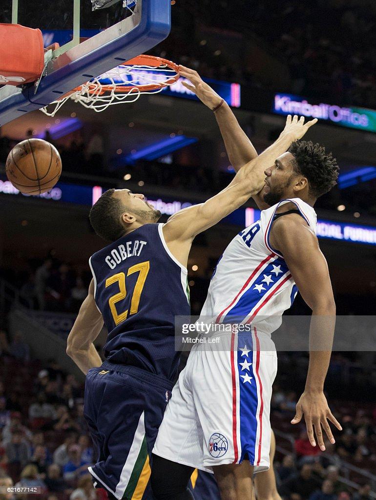 Jahlil Okafor #8 of the Philadelphia 76ers dunks the ball against Rudy Gobert #27 of the Utah Jazz in the fourth quarter at Wells Fargo Center on November 7, 2016 in Philadelphia, Pennsylvania. The Jazz defeated the 76ers 109-84.