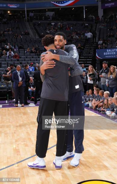 Jahlil Okafor of the Philadelphia 76ers greets Justin Jackson of the Sacramento Kings prior to the game on November 9 2017 at Golden 1 Center in...