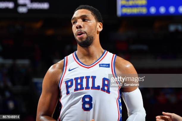 Jahlil Okafor of the Philadelphia 76ers looks on during the game against the Memphis Grizzlies during a preseason game on October 4 2017 at Wells...