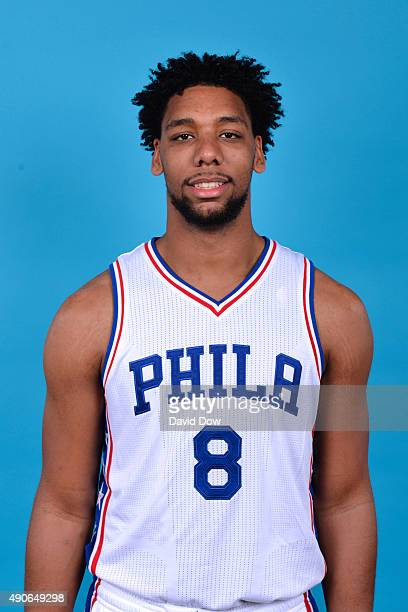 Jahlil Okafor of the Philadelphia 76ers poses for a photo during media day on September 28 2015 in Galloway New Jersey NOTE TO USER User expressly...