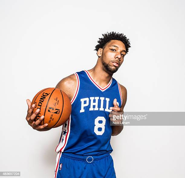 Jahlil Okafor of the Philadelphia 76ers poses for a portrait during the 2015 NBA rookie photo shoot on August 8 2015 at the Madison Square Garden...