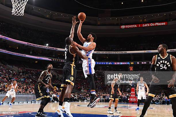Jahlil Okafor of the Philadelphia 76ers shoots the ball against the Toronto Raptors at Wells Fargo Center on January 9 2015 in Philadelphia...